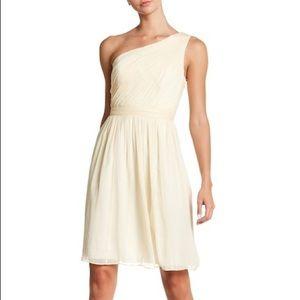 NWT J Crew cream one shoulder silk dress